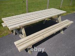 Banc De Pique-nique 4 Pieds Redwood Ultra Lourd (siège Large) Table De Jardin