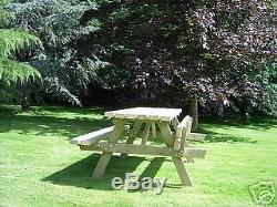 Banc De Pique-nique Et 5ft Parasol Heavy Duty Table De Jardin En Bois