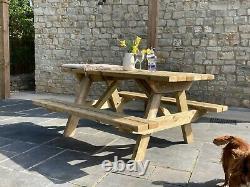 Banc De Table De Pique-nique En Bois Lourd Expédition Rapide 4-6 Places