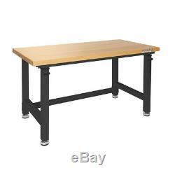 Banc De Travail Table En Bois Robuste Haut Noir Hauteur Ajustable Garage Atelier