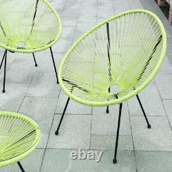 Bistro Outdoor Garden 2 Seater Egg Table Chaises Patio Set Jaune Vert Pe Rattan