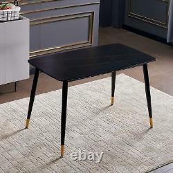 Black Alexander Table À Manger En Marbre Avec Des Jambes En Or Noir 13080cm