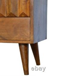 Bois Foncé Châtaigne Prism Table D'armoire De Chevet Avec Tiroir Sculpté À La Main
