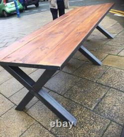 Bois Massif 9ft X 3ft Refectory Table Metal X Frame Heavy Duty
