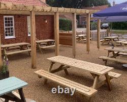 Bois Mitred Corner Heavy Duty Garden Picnic Pub Patio Banc Table 4ft 5ft 6ft