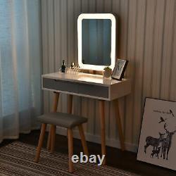 Coiffeuse Elecwish Coiffeuse Maquillage De Maquillage Vanité Led Miroir Miroir Tabouret En Bois Maison Maison