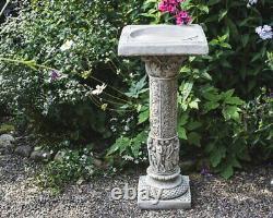 Conception Romaine Très Détaillée Birdbath / Bird Table Tall Style With Square Top