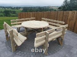 Custom Round Picnic Table Pub Quality Picnic Table Wood Treated Bench Heavy Duty