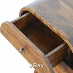 Dark Wood Table De Chevet Arrondi Cabinet / Côté Table Milieu Du Siècle De Style Rétro