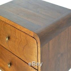 Deco Courbe Milieu Du Siècle Style Murale 2 Table De Chevet Avec Tiroir En Bois Foncé