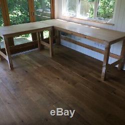 Deux Solides Lourds Bancs De Travail En Bois / Tables / Bureaux / Main