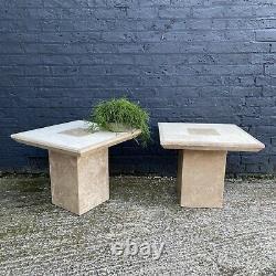 Duo De Travertin Côté Pierre Accent Tables Furniture Marble Heavy Duty Square