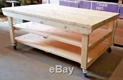 Établi En Bois 4ft De Garage Large Avec La Table Mobile Résistante Industrielle De Roues