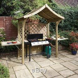 Extérieur Barbecue Abri De Jardin Gazebo Plié Shed Bbq Seat Arbor Table En Bois