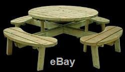 Extérieur Jardin Banc De Pique-nique Table Heavy Duty Tanalised 8 Seater