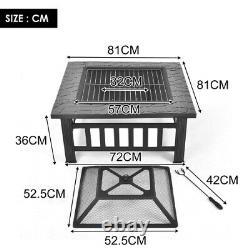 Fosse D'incendie Lourde Grande Table Extérieure De Chauffage De Jardin De Foyer Avec Le Gril De Barbecue