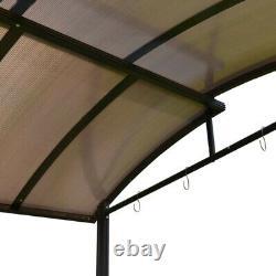 Gazebo Bbq Aleko Steel Hard Top Avec Tables De Service 8 X 5 X 8 Pieds Brun