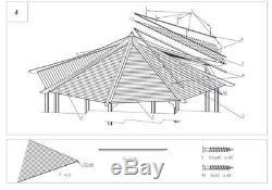 Gazebo En Bois, Pavillon, Spa, Patio Diametre Octogonal 3.5 M Ex. 4.2 M