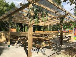 Grande Pergola En Bois, Gazebo En Bois, Summerhouse, 4.6m X 7.2m, Tables De Pique-nique