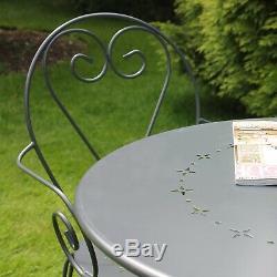 Gris Métal Table À Manger Ensemble Jardin Patio Balcon Jardin Terrasse Terrasse 4 Seats De Chaise