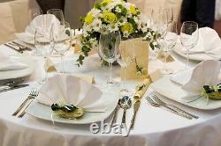Habillage De Table De Banquet En Polyester Blanc Pour Mariage (90x90)