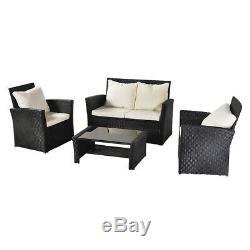 Heavy Duty 4pcs Rotin Canapé De Jardin Mobilier D'extérieur Ensembles Patio 4 Seaters Table