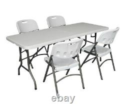 Heavy Duty 6ft 1.8m Folding Table + 4 Chaises Catering Camping Trestle Market Bbq