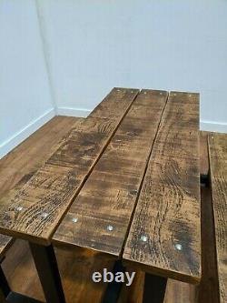 Heavy Duty Bespoke Solid Wood 6 Seat Garden Patio Pub Table Picnic Bench Set