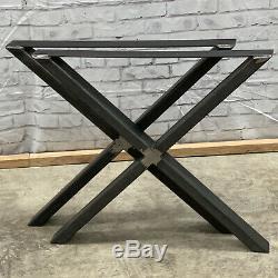Heavy Duty Ensemble De 2 Industriel X Forme Métal Table / Banc Acier Fer Jambes Base