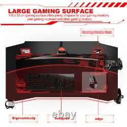 Heavy Duty Gaming Desk Home Office Pc Computer Table +cup/cable Holder Noir Rouge