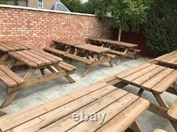 Heavy Duty Garden Table & Bench Set Seats Jusqu'à 8 No Self Assembly Requis