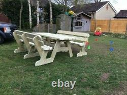 Heavy Duty Giant Garden Table Et Twin Bench Set No Self Assembly Requis