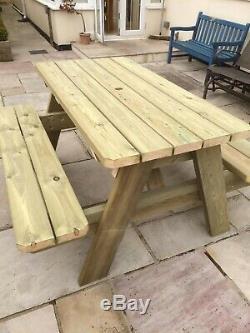 Heavy Duty Redwood Suédoise Un Cadre Pub Style Pique-nique Table / Table De Jardin / Bench