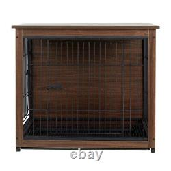 Heavy Duty Wooden Dog Kennel Metal Caisse Cage House & Plateau Indoor End Table