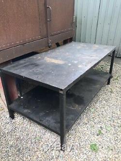 Heavy Metal Duty 2 M En Acier Workbench Poste De Travail Unité Garage Atelier Bricolage Table