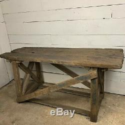 Industriel Chêne Vintage Heavy Duty Surmonté Workbench Table Sur La Base De Pin