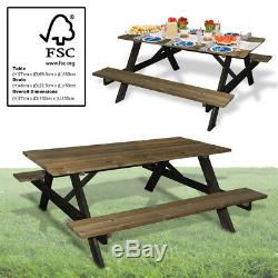 Jardin Patio Table De Pique-nique En Bois Mobilier Heavy Duty Outdoor Bench Pub Siège