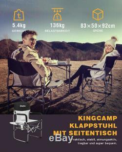 Kingcamp Lourds Compacts Camping Chaise Pliante Mesh Avec Desserte Et L