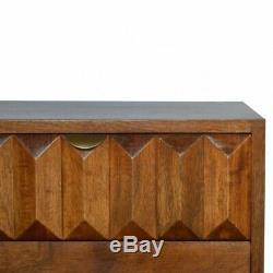 MI Siècle Style Dark Wood Armoire De Chevet Table Avec Tiroir Avant Sculpté À La Main