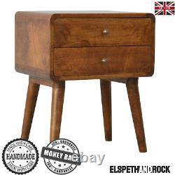MID Century Curved Dark Brown Table De Chevet Cabinet En Bois Massif Art Déco Nouveau