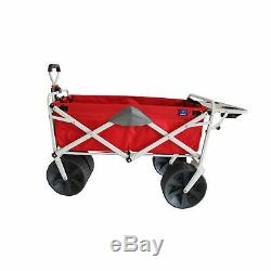Mac Sport Pliant Heavy Duty Tout Terrain Plage Wagon Avec Table D'appoint, Rouge Gris