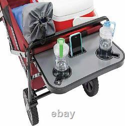 Mac Sports Collapsible Pliable Jardin D'extérieur Utilitaire Wagon Avec Table, Maroon