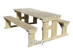Meubles Extérieurs De Jardin Réglés Par Table Et Banc De Pique-nique En Bois, Abies Résistant