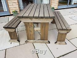 Meubles Extérieurs De Jardin Réglés Par Table Et Banc De Pique-nique En Bois, Aspen Résistant