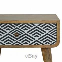 Milieu Du Siècle Déco Style De Chevet Cabinet / Table D'appoint Avec Écran Imprimé Tiroir