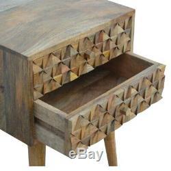 Milieu Du Siècle Moderne Scandinave Style Table De Chevet En Bois Massif Sculpté À La Main