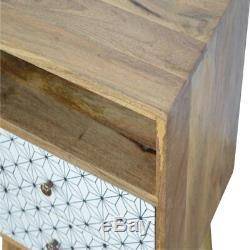 Milieu Du Siècle Scandi Style Géométrique Imprimé À Deux Tiroirs Table De Chevet