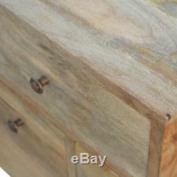 Milieu Du Siècle Scandinave Style Rustique Quatre Poignées En Laiton Table De Chevet Avec Tiroir