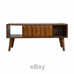 Milieu Du Siècle Style Bois Foncé Table Basse Avec La Main Sculpté Avant Du Tiroir