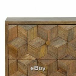 Milieu Du Siècle Style Sculpté À La Main Cube Conception De Chevet / Table D'appoint En Bois Massif Rustique